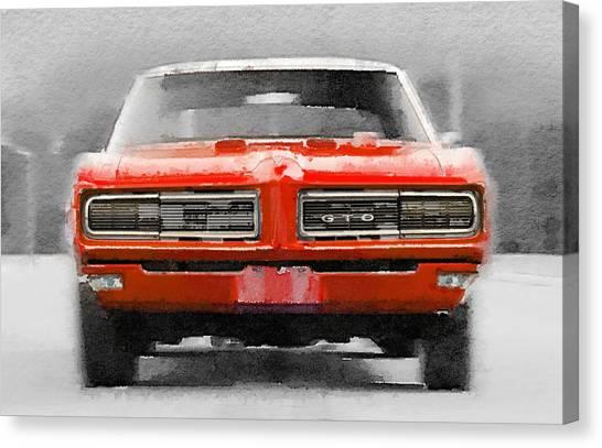 Transportation Canvas Print - 1968 Pontiac Gto Front Watercolor by Naxart Studio