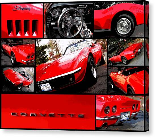 1969 Chevrolet Corvette Stingray Pop Art Collage 1 Canvas Print