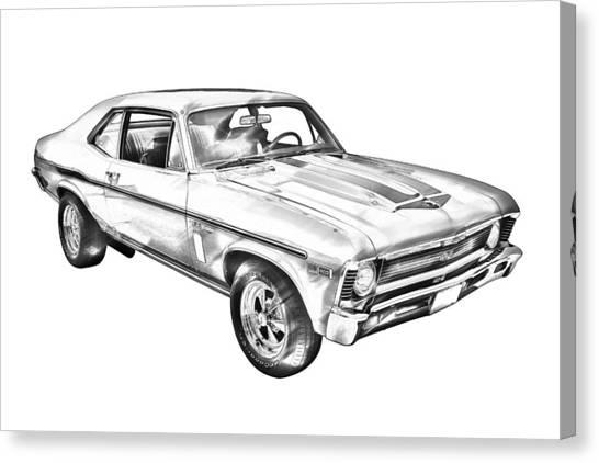 1969 Chevrolet Nova Yenko 427 Muscle Car Illustration Canvas Print