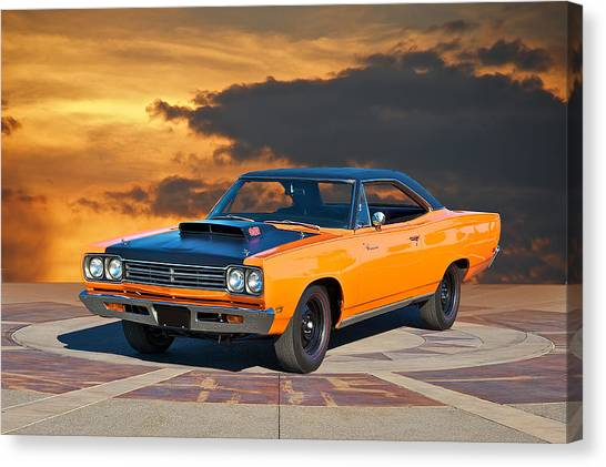Roadrunner Canvas Print - 1969 Plymouth 440 6bl Roadrunner by Dave Koontz