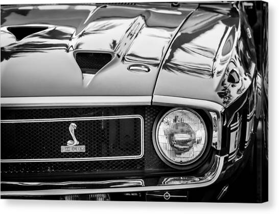 Front End Canvas Print - 1969 Shelby Cobra Gt500 Front End - Grille Emblem -0202bw by Jill Reger