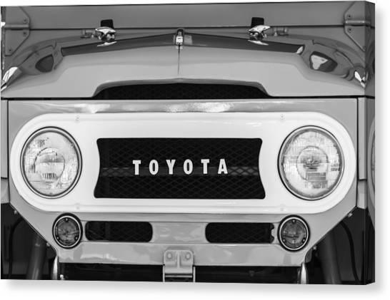Toyota Canvas Print - 1969 Toyota Fj-40 Land Cruiser Grille Emblem -0444bw by Jill Reger