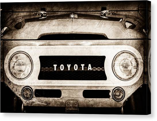 Toyota Canvas Print - 1969 Toyota Fj-40 Land Cruiser Grille Emblem -0444s by Jill Reger