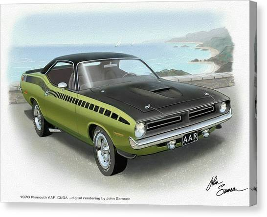 Roadrunner Canvas Print - 1970 Barracuda Aar Cuda Muscle Car Sketch Rendering by John Samsen