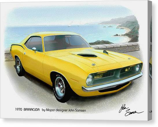 Roadrunner Canvas Print - 1970 Barracuda Classic Cuda Plymouth Muscle Car Sketch Rendering by John Samsen