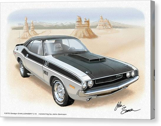 Roadrunner Canvas Print - 1970 Challenger T-a Dodge Muscle Car Sketch Rendering by John Samsen