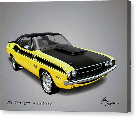 Roadrunner Canvas Print - 1970 Challenger T-a Muscle Car Sketch Rendering by John Samsen