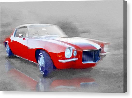 Classic Car Canvas Print - 1970 Chevy Camaro Watercolor by Naxart Studio