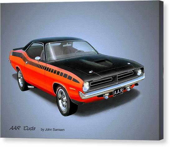 Roadrunner Canvas Print - 1970 'cuda Aar  Classic Barracuda Vintage Plymouth Muscle Car Art Sketch Rendering         by John Samsen