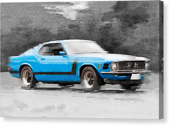 Muscles Canvas Print - 1970 Ford Mustang Boss Blue Watercolor by Naxart Studio