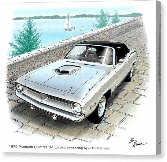 Roadrunner Canvas Print - 1970 Hemi Cuda Plymouth Muscle Car Sketch Rendering by John Samsen