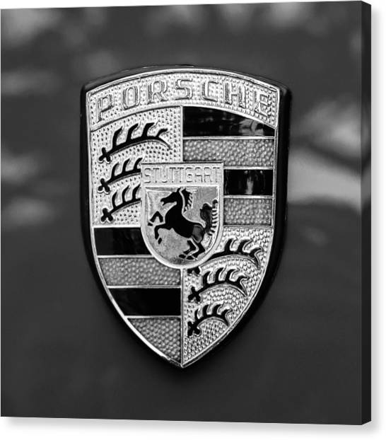 1970 Porsche 911 S 2.2 Coupe Emblem -0036bw55 Canvas Print by Jill Reger