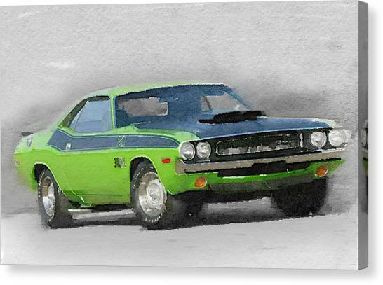 Dodge Canvas Print - 1970-ta-challenger Watercolor by Naxart Studio