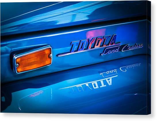 Toyota Canvas Print - 1970 Toyota Land Cruiser Fj40 Hardtop Emblem by Jill Reger