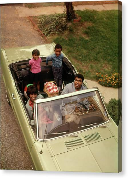 Motoring Canvas Print - 1970s African American Family Of Four by Vintage Images
