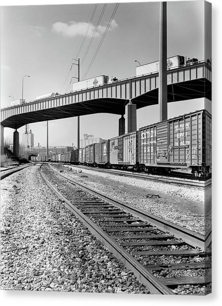 Freight Trains Canvas Print - 1970s Angled View Of Freight Train by Vintage Images