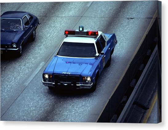 Police Car Canvas Print - 1970s Blue And White New York City by Vintage Images