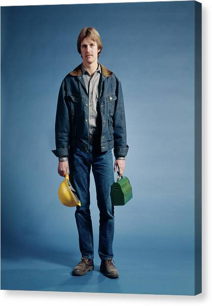 Hard Hat Canvas Print - 1970s Construction Worker Hat Lunch Box by Vintage Images