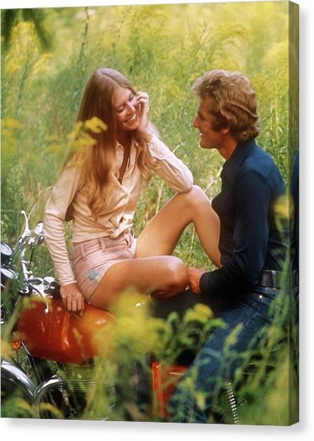 Motoring Canvas Print - 1970s Happy Young Romantic Couple Man by Vintage Images