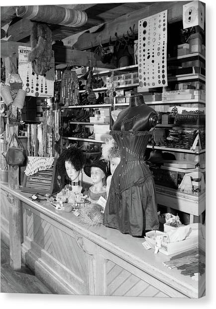 Country Store Canvas Print - 1970s Interior Of Farm Museum by Vintage Images