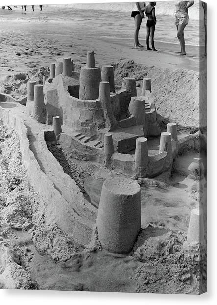 Sand Castles Canvas Print - 1970s Large Detailed Sand Castle by Vintage Images
