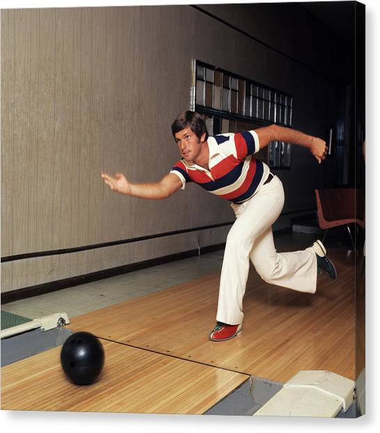 Bowling Shoes Canvas Print - 1970s Man Striped Shirt Bell Bottom by Vintage Images