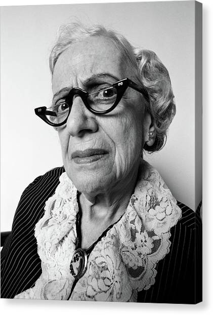 Cantankerous Canvas Print - 1970s Portrait Senior Woman Facial by Vintage Images