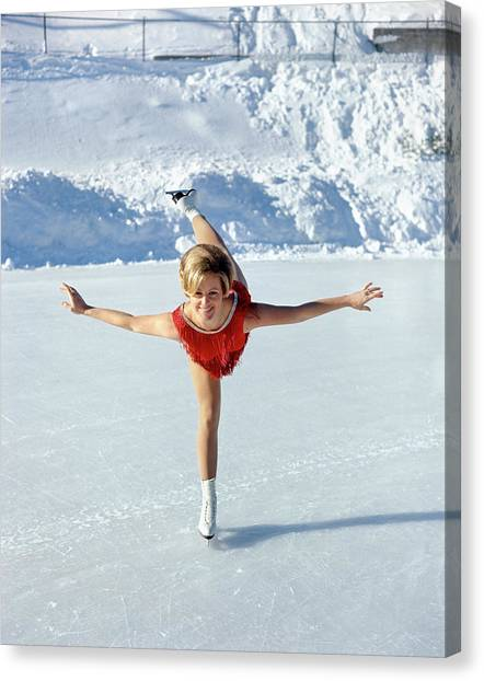 Speed Skating Canvas Print - 1970s Smiling Blonde Woman Figure by Vintage Images
