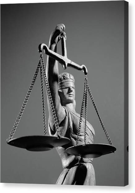 Impartial Canvas Print - 1970s Statue Of Blind Justice Holding by Vintage Images