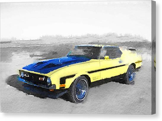 Muscle Cars Canvas Print - 1971 Ford Mustang Boss Watercolor by Naxart Studio