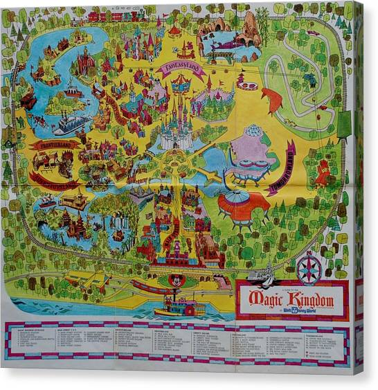 Mice Canvas Print - 1971 Original Map Of The Magic Kingdom by Rob Hans