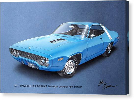 Roadrunner Canvas Print - 1971 Roadrunner Plymouth Muscle Car Sketch Rendering by John Samsen