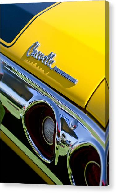 Chevelle Canvas Print - 1972 Chevrolet Chevelle Taillight Emblem by Jill Reger