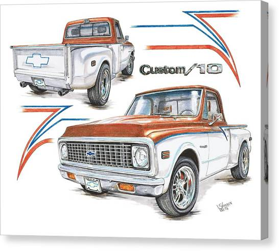 Chevy C10 Canvas Print - 1972 Chevy C-10 Pickup by Shannon Watts