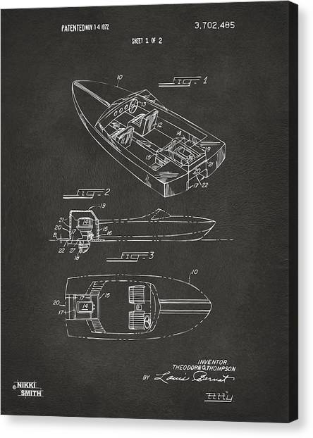 Water Sports Art Canvas Print - 1972 Chris Craft Boat Patent Artwork - Gray by Nikki Marie Smith