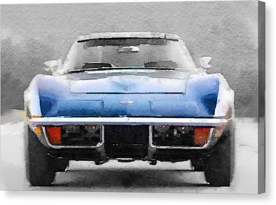 Classic Cars Canvas Print - 1972 Corvette Front End Watercolor by Naxart Studio