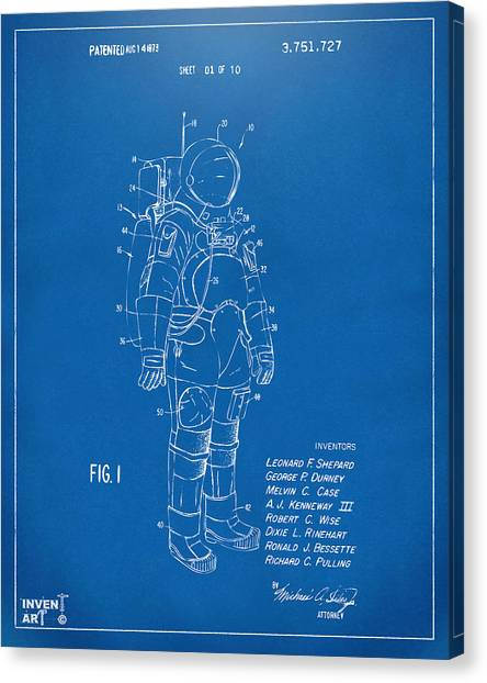 Space Shuttle Canvas Print - 1973 Space Suit Patent Inventors Artwork - Blueprint by Nikki Marie Smith