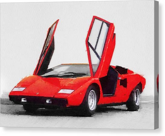 Classic Cars Canvas Print - 1974 Lamborghini Countach Open Doors Watercolor by Naxart Studio