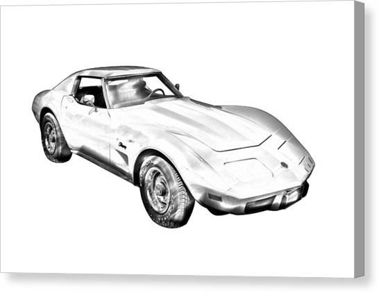 1975 Corvette Stingray Sports Car Illustration Canvas Print