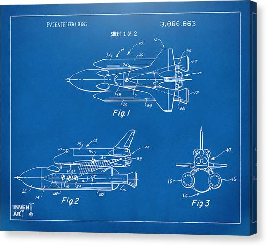 Space Ships Canvas Print - 1975 Space Shuttle Patent - Blueprint by Nikki Marie Smith