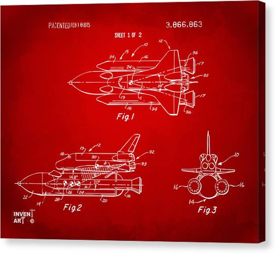Space Ships Canvas Print - 1975 Space Shuttle Patent - Red by Nikki Marie Smith