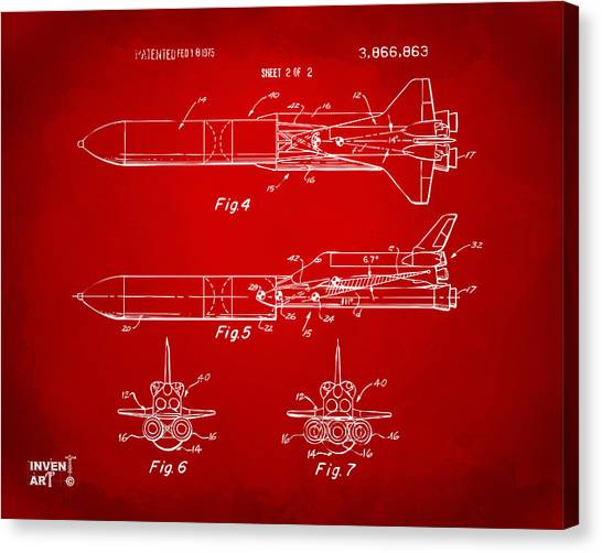 Space Ships Canvas Print - 1975 Space Vehicle Patent - Red by Nikki Marie Smith