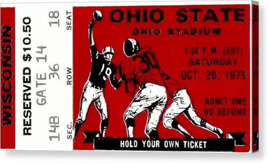 University Of Wisconsin - Madison Canvas Print - 1979 Ohio State Vs Wisconsin Football Ticket by David Patterson