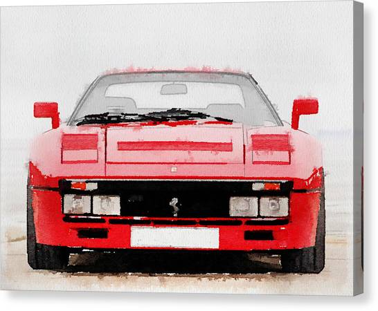Ferrari Canvas Print - 1980 Ferrari 288 Gto Front Watercolor by Naxart Studio