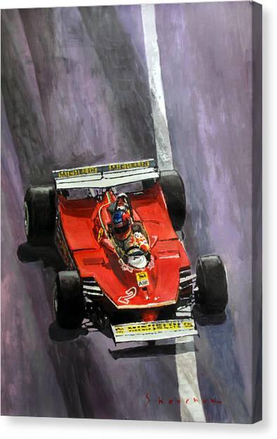 Paper Canvas Print - 1980 Monaco Gp Gilles Villeneuve Ferrari 312 T5  by Yuriy Shevchuk