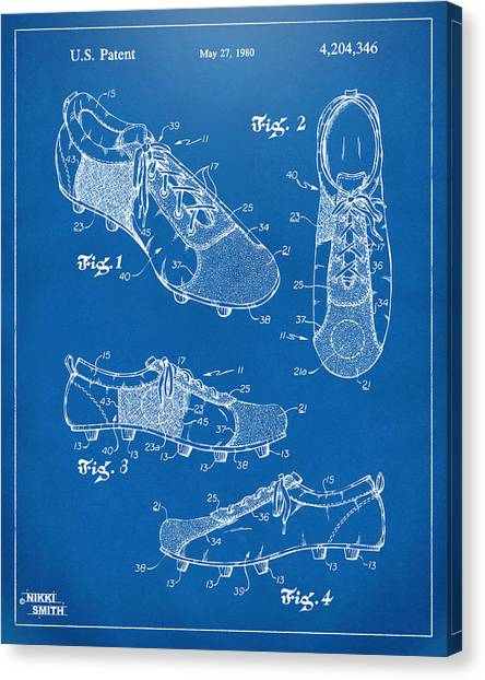 World Cup Canvas Print - 1980 Soccer Shoes Patent Artwork - Blueprint by Nikki Marie Smith