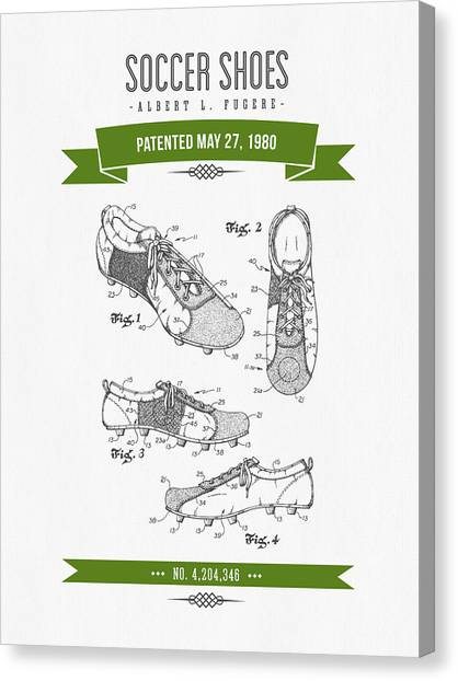 Soccer Canvas Print - 1980 Soccer Shoes Patent Drawing - Retro Green by Aged Pixel