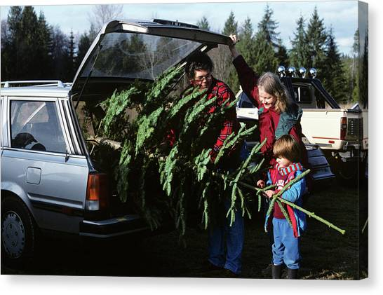 Flannel Canvas Print - 1980s Family Christmas Tree Car by Vintage Images