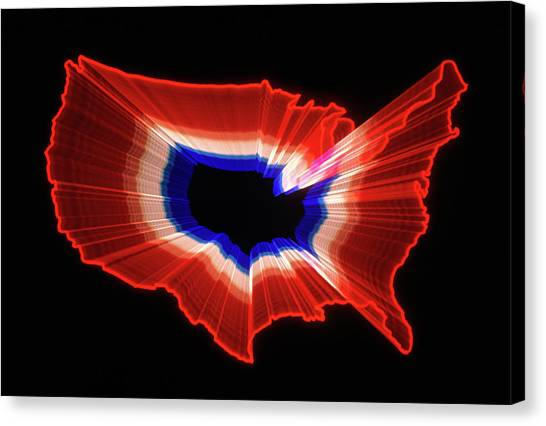 Honor Canvas Print - 1980s Luminous Zoomed Red White by Vintage Images