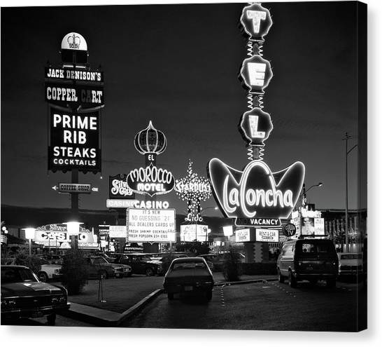 Las vegas strip canvas print 1980s night neon on the strip for el by vintage